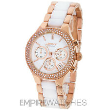 **NEW** DKNY LADIES CERAMIC CHRONOGRAPH ROSE GOLD WATCH NY8183 - RRP £259.00