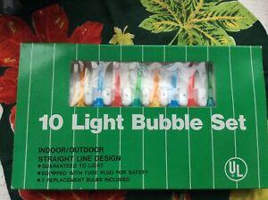 Vtg 10 light bubble set mini in box made in Taiwan miniature Xmas tree