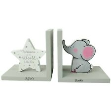 Personalised Engraved Nursery Bookends Baby Personalised Book Ends Gift Elephant