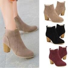 WOMENS LADIES MID HIGH HEEL BLOCK PLATFORM ANKLE LOW CHELSEA BOOTS SHOES SIZE BS