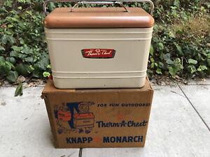 Vintage Knapp Monarch 1950's Aluminum Lined Therm-a-Chest Cooler W Original Box