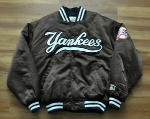 NEW YORK YANKEES STARTER DIAMOND COLLECTION JACKET MLB BROWN SATIN MEN M