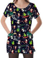 Christmas Night Women Scoop Neckline Pockets Top Shirt Blouse b16 acr02568