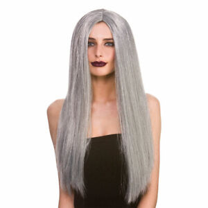 Adult Ladies Classic Long Grey Halloween Witch Fancy Dress Costume Wig