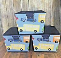 Lot 3 Boy Pottery Barn Kids Metal Storage Bins Baskets 12x9 Transportation Blue