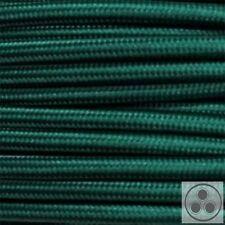 Textilkabel Stoffkabel Lampen-Kabel Stromkabel, Dunkelgrün 3 adrig