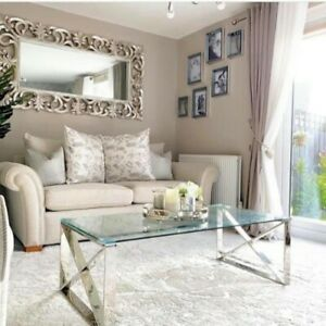 Stainless Steel Silver Coffee Table Clear Glass Contemporary Lounge Living Room
