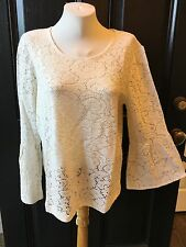 New $79 RARE Chico's Ecru Ivory Laura Lace Top Shirt Size 2 = Large L 12/14 NWT