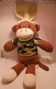 "Dan Dee SOCK MONKEY 10"" With Rabbit Ears & Green Camo Shirt - Stuffed Soft Toy"