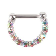 1pcs 16g(1.2mm) Surgical Steel CZ Septum Clicker Nose Ring Hoop Piercing Jewelry Colorful