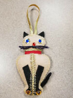 New Felt Christmas Ornament Cat Blue Eyes Handmade