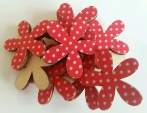 6 Red polka dot flowers  wood card toppers/embellishments/ cardmaking scrapbook