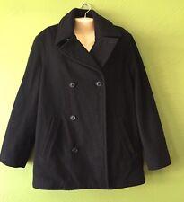 JCREW Classic Wool Peacoat Woman's Medium Black Work Career Jacket Coat Winter