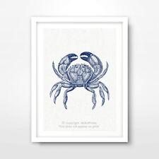 CRAB ILLUSTRATION SEASIDE NAUTICAL ART PRINT Blue Sealife Seafood Decor Picture