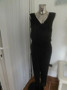 M&S BLACK JUMPSUIT TROUSERS TOP ALL IN ONE SIZE 14 REG LADIES BNWT RP £65