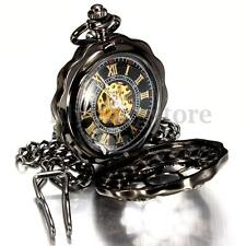 Black Antique Mechanical Skeleton Steampunk Mens Pocket Watch Gift Chain New