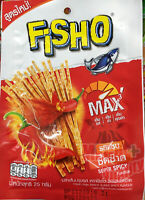 FISHO Fish Snack Super Spicy Thai Flavored Healthy Low Fat Camping Picnic 25g.