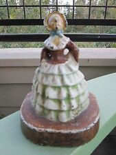 ANTIQUE ORIGINAL SOUTHERN LADY BELL DRESS CAST IRON ART STATUE DOORSTOP