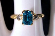Ladies Girls Aquamarine Birthstone Ring Zircon Stones size 4 1/2 Adjustable