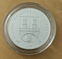 2014 Silber-Medaille 800 Jahre Bielefeld 1214 Motiv Sparrenburg in Schatulle