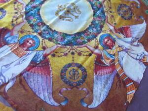 Scarf Mantilla Silk Chiffon Church Veil Floral Angels Christian Art Work Print