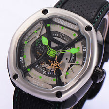 Corgeut Luxury 46mm Gray Dial Green hands Japan Miyota Automatic Men WristWatch