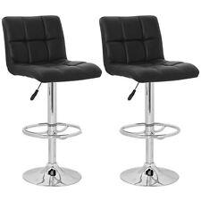 Set of 2 Black Barstool High Back Stool Modern Adjustable Height Swivel Seat