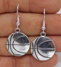 "New Tibetan Silver Basketball Charm 1.6"" Dangle Drop Earrings"