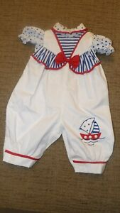 Vintage Baby Outfit White Overalls Blue White Shirt 3-6 Months