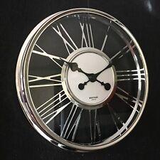 MAYFAIR LONDON 40CM ROUND WALL CLOCK CLEAR GLASS CHROME FRAME ROMAN WALL CLOCK