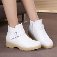 New Nurse Hospital Women's Leather Fur Lined Work Boots Warm Nursing Work Shoes
