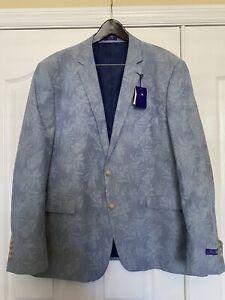 ALAN FLUSSER LIGHT BLUE. Lined  XXL 2 Button  Sport Jacket Tropical