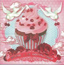 2 Serviettes papier Gourmandises Decoupage Paper Napkins Cupcake