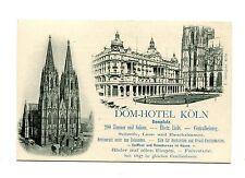 Vintage Advertising Card DOM HOTEL KOLN Germany illustrated