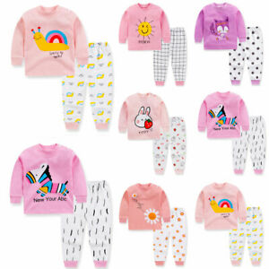 Children Cartoon Print Kids Girls Pajamas Set Long Sleeve Tops + Pants Outfits