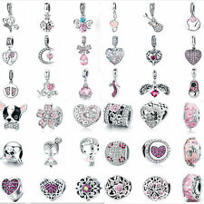 Wostu S925 Sterling Silver Pink Charms Bead Various Pendant Fit Bracelet Women