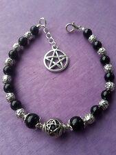 PENTAGRAM Black Onyx GEMSTONE BRACELET & PENTACLE CHARM Adjustable Wiccan Pagan