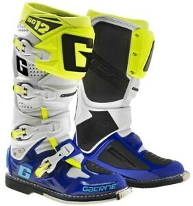 GAERNE SG12 MX BOOTS BLUE/WHITE/YELLOW MOTOCROSS, ENDURO, TRAIL & OFF ROAD BOOTS