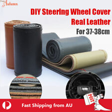38cm Universal Car SUV DIY PU Leather Steering Wheel Cover W/needles Red Thread