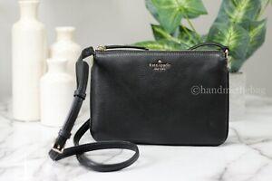 Kate Spade Jackson Black Leather Triple Gusset Crossbody Handbag Purse