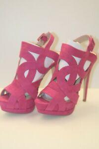 High heels platform stiletto Size 8 NEW Cut Out Straps, Fuchsia / Hot Pink