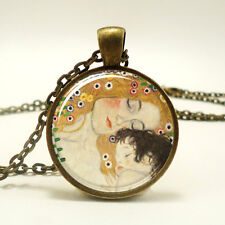 Mother and Child by Gustav Klimt Necklace, Art Pendant, Bronze (0453B1IN)