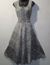 Dress XL 1X Plus Sundress Gray Roses Butterflies Corset Lace Up Chest NWT 1322
