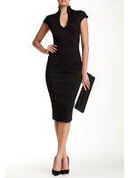 Alexia Admor Womens Black Scuba Midi Sheath Dress Sz L 80549