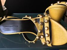 New $1000 Size (8)38 Balenciaga Paris Arena Crackled  Leather Studded Wedge