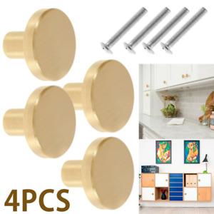 4PCS Gold Brass Drawer Knobs Handles Small Round Cupboard Cabinet Door Kitchen