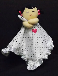 """Carters One Size Doll White Black Dots Baby Rattle Lovey Security Blanket 15"""""""