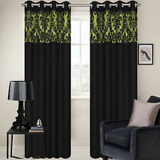 RING TOP FULLY LINED PAIR EYELET READY MADE CURTAINS BAROQUE DAMASK 10 COLOURS!