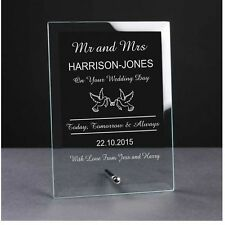 Personalised Engraved Glass Plaque Bride and Groom Mr and Mrs wedding day gift.