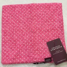 Mens Pocket Square CHARLES TYRWHITT Hand Made Italy Linen PINK Small WHITE Spot